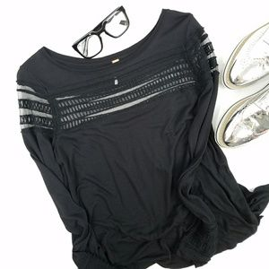 Free People Black Mesh Top Tunic